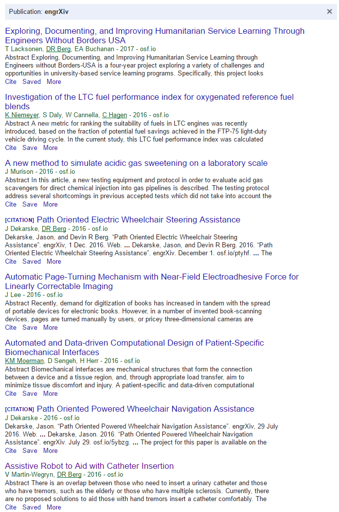 Screenshot of the engrXiv indexed in Google Scholar.