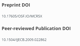 Preprint only DOI screenshot